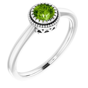 "14K White Peridot ""August"" Birthstone Ring"