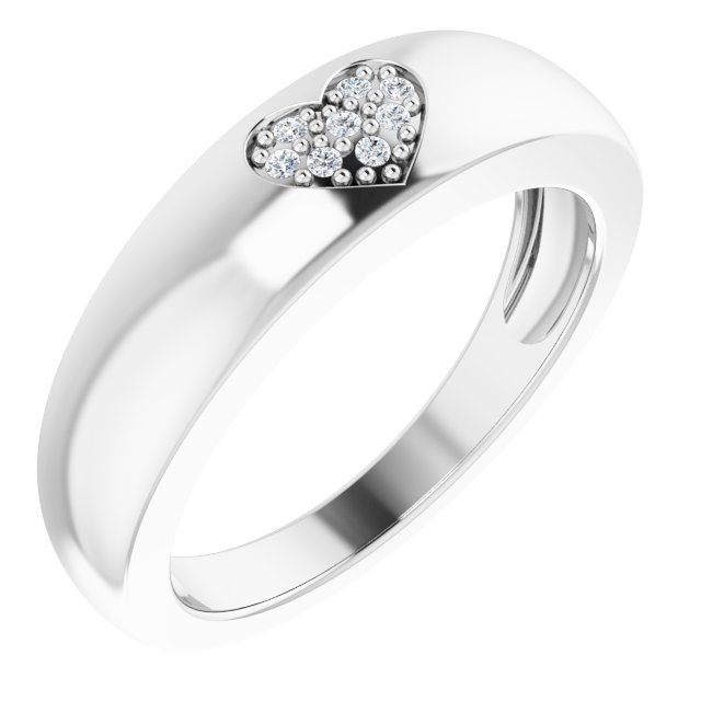 Sterling Silver 1 mm Round Cubic Zirconia Heart Cluster Ring Size 8