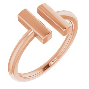 14K Rose Vertical Bar Ring