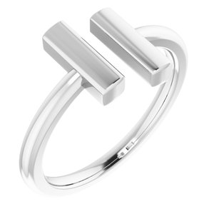 14K White Vertical Bar Ring