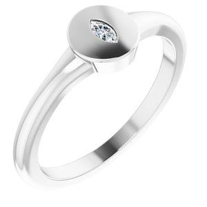14K White .05 CT Diamond Signet Ring