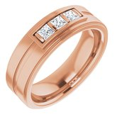 14K Rose 2.75 mm Square 3/8 CTW Diamond Ring