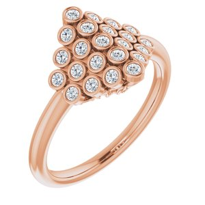 14K Rose 1/3 CTW Diamond Bezel-Set Cluster Ring
