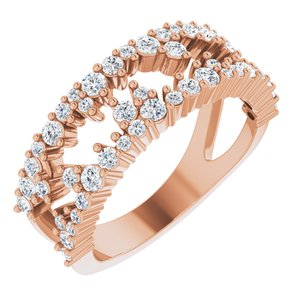 14K Rose 3/4 CTW Diamond Negative Space Ring