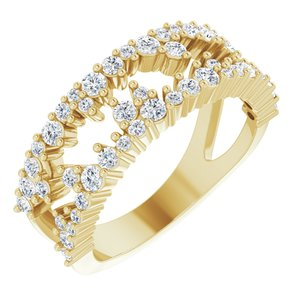 14K Yellow 3/4 CTW Diamond Negative Space Ring
