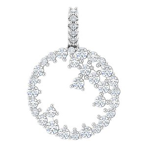 14K White 5/8 CTW Diamond Scattered Circle Pendant