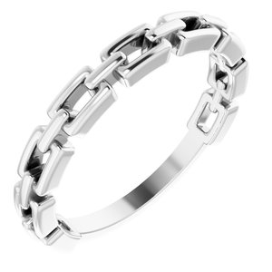 14K White Chain Link Ring