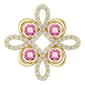 14K Yellow Pink Tourmaline & 1/6 CTW Diamond Clover Pendant
