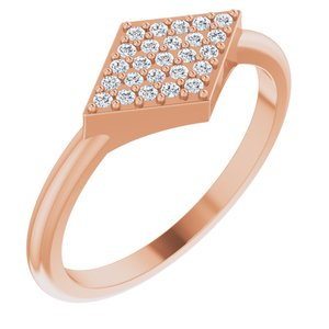 14K Rose 1/8 CTW Diamond Geometric Ring