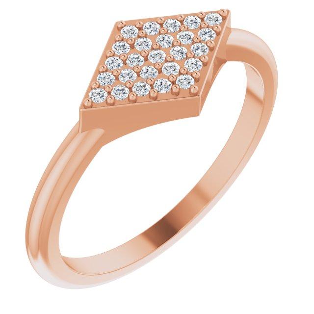 14K Rose 1/8 CTW Diamond Geometric Ring