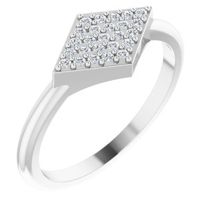 14K White 1/8 CTW Diamond Geometric Ring