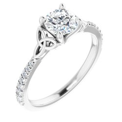 Celtic-Inspired French-Set Engagement Ring or Band