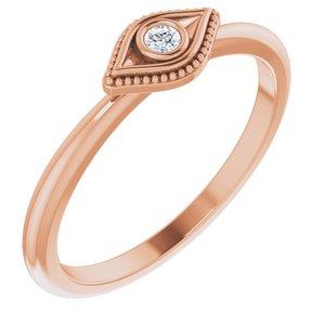 14K Rose Sapphire Stackable Evil Eye Ring