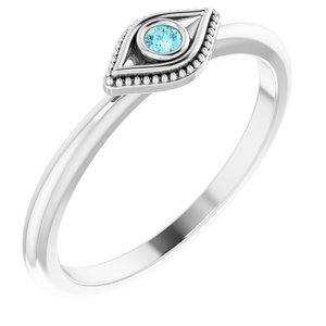 Sterling Silver Blue Zircon Stackable Evil Eye Ring
