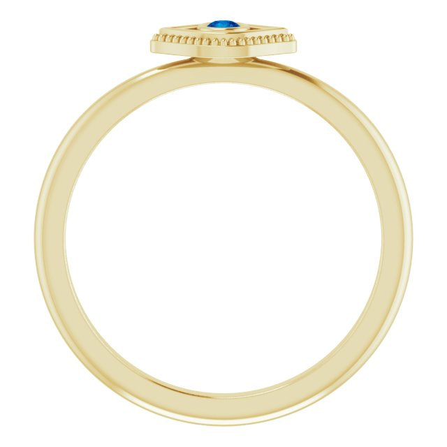 14K Yellow Lab-Grown Blue Sapphire Stackable Evil Eye Ring
