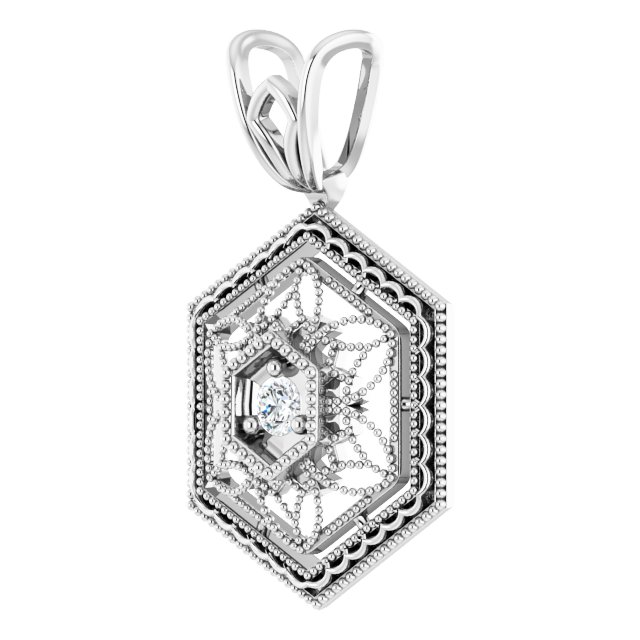 14K White .03 CT Natural Diamond Filigree Pendant