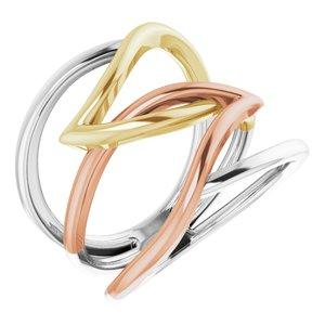14K Tri-Color Criss-Cross Ring