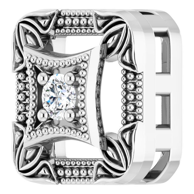 14K White .04 CT Natural Diamond Vintage-Inspired Pendant
