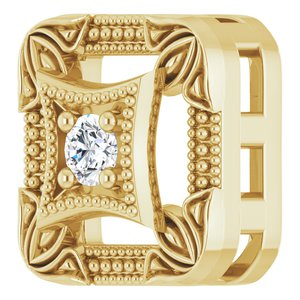 14K Yellow .04 CT Diamond Vintage-Inspired Pendant