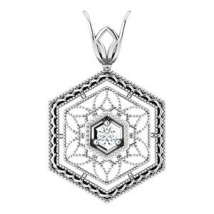 14K White .03 CT Diamond Filigree Pendant