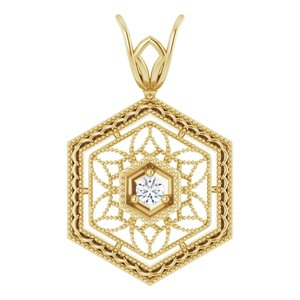 14K Yellow .03 CT Diamond Filigree Pendant