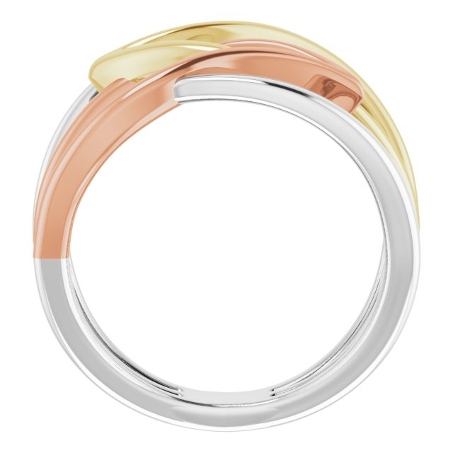 14K Tri-Color Criss-Cross Ring