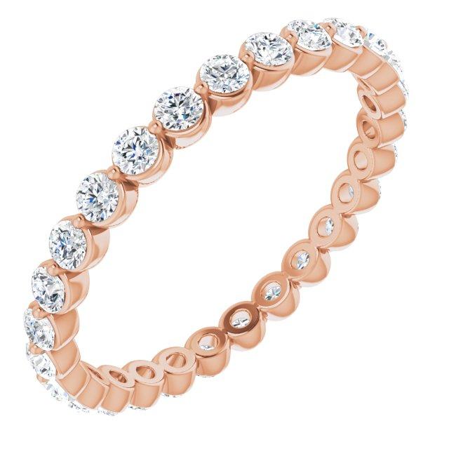 14K Rose 3/4 CTW Diamond Eternity Band Size 6