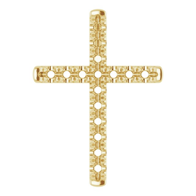 14K Yellow 1.7 mm Round 16-Stone French-Set Cross Pendant Mounting