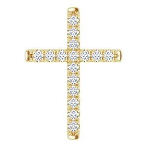 14K Yellow 1/3 CTW Diamond French-Set Cross Pendant