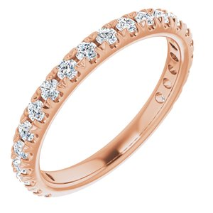 14K Rose 5/8 CTW Diamond French-Set Anniversary Band
