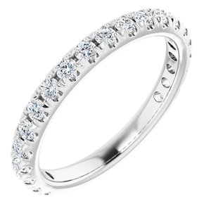 14K White 5/8 CTW Diamond French-Set Anniversary Band