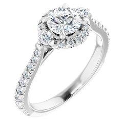 French-Set Halo-Style Engagement Ring