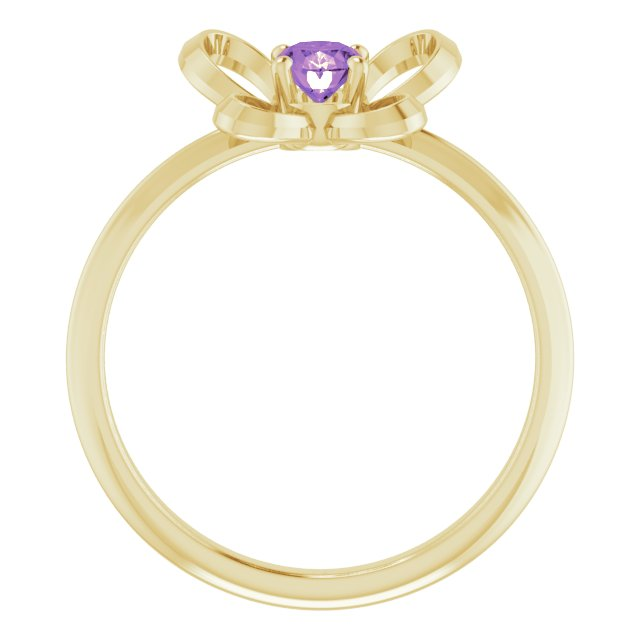 14K Yellow 4x3 mm Oval February Youth Butterfly Birthstone Ring