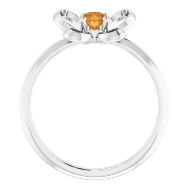 14K White 4x3 mm Oval November Youth Butterfly Birthstone Ring