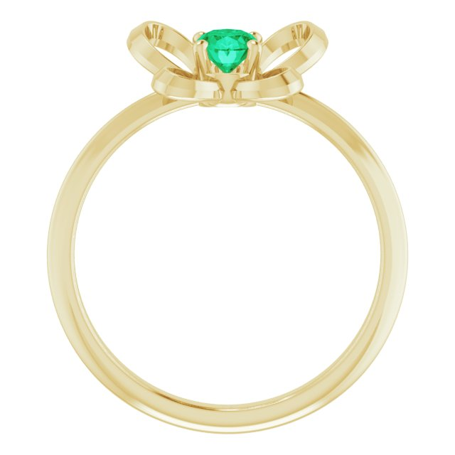 14K Yellow 4x3 mm Oval May Youth Butterfly Birthstone Ring