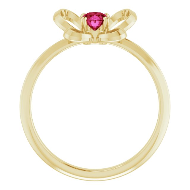 14K Yellow 4x3 mm Oval July Youth Butterfly Birthstone Ring