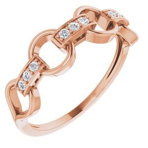 14K Rose 1/10 CTW Diamond Link Ring