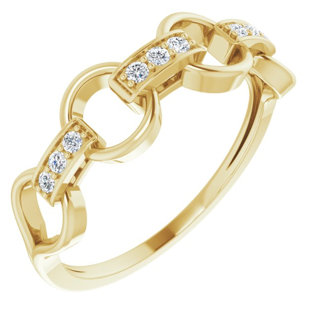 14K Yellow 1/10 CTW Diamond Link Ring