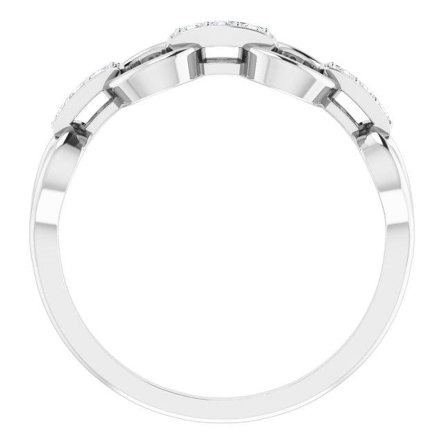 14K White 1/10 CTW Diamond Link Ring