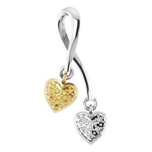 14K White & Yellow .08 CTW Diamond Double Heart Pendant
