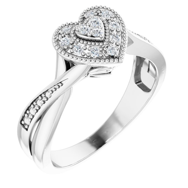 Sterling Silver Cubic Zirconia Criss-Cross Heart Ring Size 8