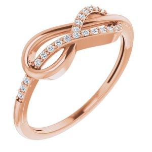 14K Rose 1/10 CTW Diamond Infinity-Inspired Knot Ring