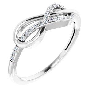 14K White 1/10 CTW Diamond Infinity-Inspired Knot Ring