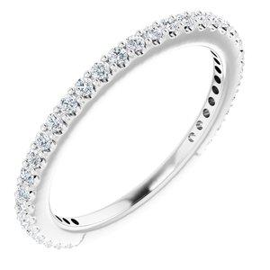 14K White 1/3 CTW Diamond Stackable Ring Size 7