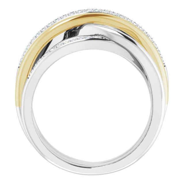 14K White/Yellow 1/3 CTW Diamond Criss-Cross Ring