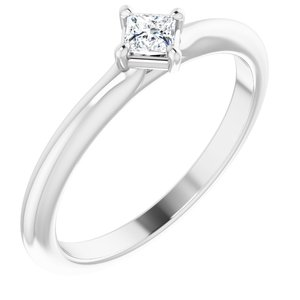 14K White 1/6 CTW Diamond Solitaire Ring