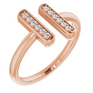14K Rose 1/10 CTW Diamond Vertical Bar Ring