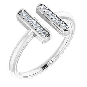 14K White 1/10 CTW Diamond Vertical Bar Ring
