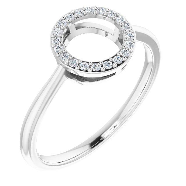 14K White 1/10 CTW Natural Diamond Circle Ring