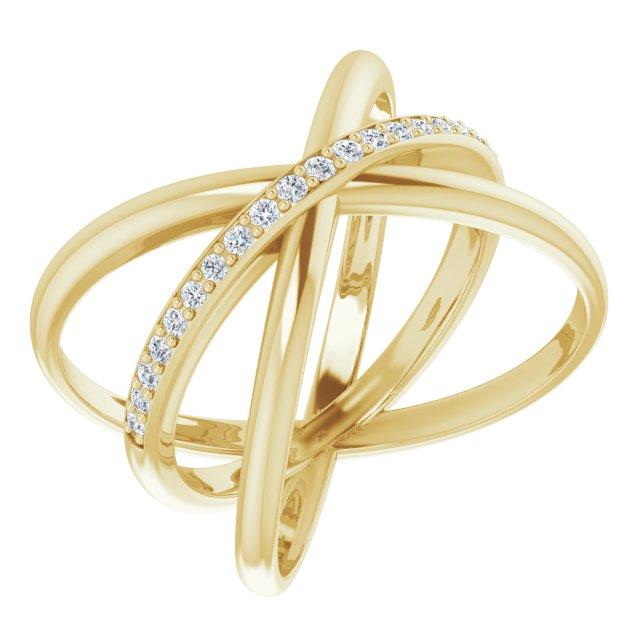 14K Yellow 1/6 CTW Diamond Criss-Cross Ring